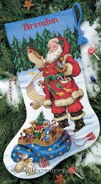 Checking His List Stocking Cross Stitch Kit
